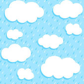 Seamless pattern with clouds and rain — Stock Vector