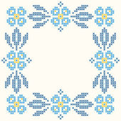 Cross-stitch embroidery in Ukrainian style — Stock Vector