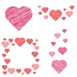 Set of hearts compositions in sketch style — Stock Vector
