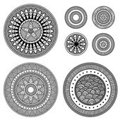 Set of design elements - patterned circles — Stock Vector