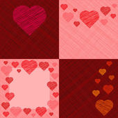 Set of four Valentine's Day Cards — Stock Vector