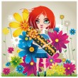 Girl with a gift and flowers - Stock Vector