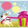 Stock Vector: Dog opening gift