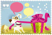 Dog opening a gift — Stock Vector