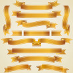 Set of golden ribbons — Stock Vector