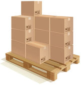 Pallet with boxes — Stock Vector