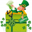Stock Vector: Leprechaun with box