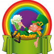 Stock Vector: Leprechaun in rainbow