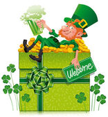 Leprechaun with box — Stock Vector