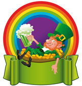 A Leprechaun in the rainbow — Vecteur