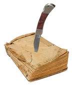 Old book with knife — Foto Stock