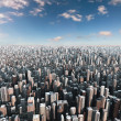 Futuristic city, 3d digitally rendered illustration — Stock Photo