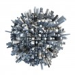 Stock Photo: Isolated miniature chaotic urbplanet