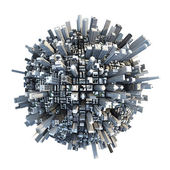 Isolated miniature chaotic urban planet — Stock Photo