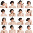 Collage of woman different facial expressions - Foto Stock