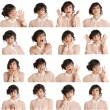 Collage aus verschiedenen Gesichtsausdrücken Frau — Stockfoto