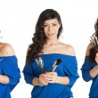Collage of a woman with makeup brushes - Stock Photo