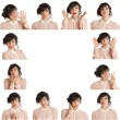 Collage of woman different facial expressions — Stock Photo #25255223