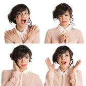 Collage of many expressions — Stock Photo