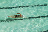 Swimming laps overhead view — Stock Photo