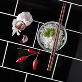 Contemporary angled overhead of asian rice and ingredients — Stock Photo