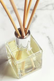 Aromatherapy reed diffuser air freshener close up — Stock Photo