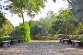 庭の造園。沼でパス — ストック写真