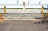 White ladder as part of a Thai temple. The Wat Rhai Pa, Trat, Th — Stock Photo