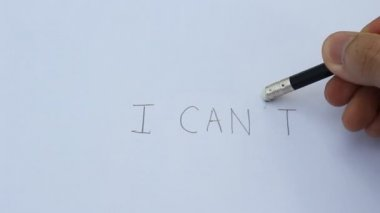 Hand Writing Word I can't on Paper — Wideo stockowe