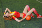 An Unidentified model  promote World cup 2014 — Stock Photo