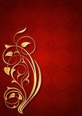 Altın floral desenler kırmızı fonda — Wektor stockowy