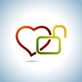 Heart and Key — Stock Vector
