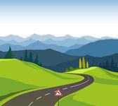 Yol ve manzara — Stock Vector