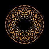 Altın Osmanlı motifleri siyah zeminde — Stock Vector