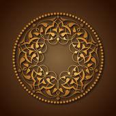 Altın Osmanlı motifleri kahverengi zeminde — Vector de stock