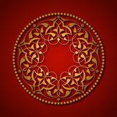 Altın Osmanlı motifleri mavi zeminde — Stock Vector
