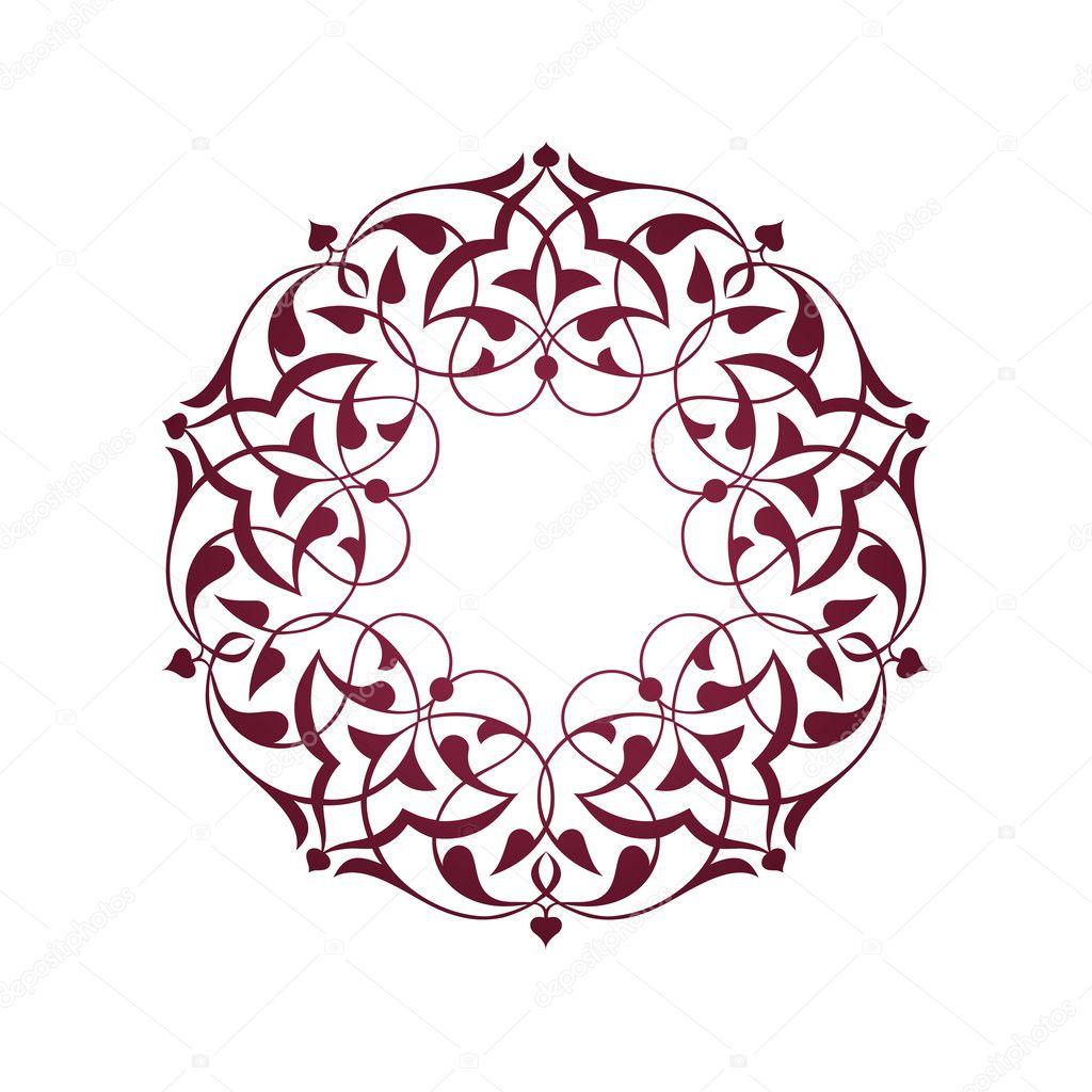 Pembe Osmanl   Motifleri Beyaz Zeminde   Stock Illustration