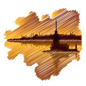 Istanbul drawing and sunset — Stock Vector