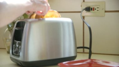Modern design of the bread toaster in the kitchen — Stock Video
