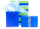 Blue and striped presents and gift bag — Stock Photo