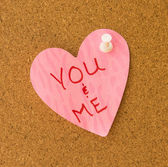 You & Me Pink Heart Memo — Stock Photo