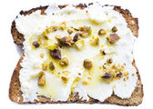 Ricotta Pistachio Toast — Stock Photo