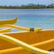 Stock Photo: Outrigger Canoes at MaunaluBay