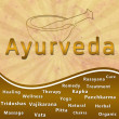Royalty-Free Stock Photo: Ayurveda text keywords Mortar with Brown Grunge