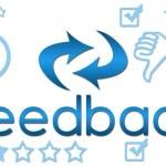 Feedback header with keywords - Blue — Stock Photo