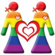 Lesbian Graphic - Two Girls - Rainbow - Stock Photo