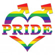 Gay Pride in Heart Shape and Arrows - Stock Photo