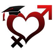Sex Education - Hat on Heart Shape — Stock Photo