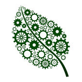 Green Leaf with gears — Stockfoto
