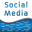 图库照片: Social Mediwith Keywords - Blue